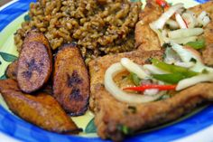 tilapia with escovich marinade, risotto and fried plantains