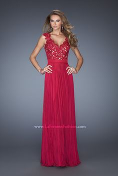 La Femme 19846 http://www.vip-dresses.com/2014-Long-Dress-V-Neck-Appliqued-Bodice-Ruched-Waistband-Flowing-Chiffon-Skirt-84828738