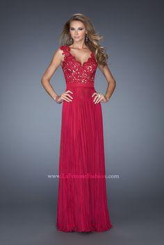 La Femme 19846 http://www.vip-dresses.com/2014-Long-Dress-V-Neck-Appliqued-Bodice-Ruched-Waistband-Flowing-Chiffon-Skirt-84828738