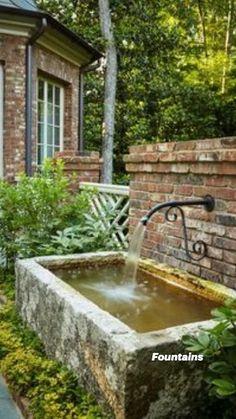 Backyard Water Feature, Small Backyard Pools, Ponds Backyard, Backyard Landscaping, Water Features In The Garden, Garden Features, Garden Fountains, Landscape Fountains, Concrete Fountains