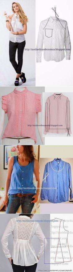 7 способов превратить мужскую рубашку в стильную блузку