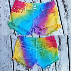 Rainbow short shorts DIY tie dye colorful summer fashion