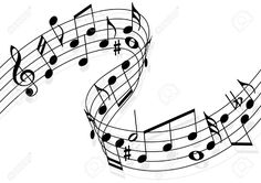 Musical notes flying over the stave (music, notes, jazz)
