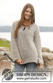 "Brume - Knitted DROPS jumper with false English rib in ""Air"" or ""Brushed Alpaca Silk"". Size: S - XXXL. - Free pattern by DROPS Design"