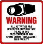 2 Pack Commercial Grade Outdoor / Indoor Security Surveillance CCTV Video Warning Decal  Deterrence Security Safety 4x4