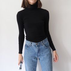 3893c48ff14cba Amazing vintage ribbed turtleneck roll neck long sleeve top in black …  Ribbed Turtleneck, Roll