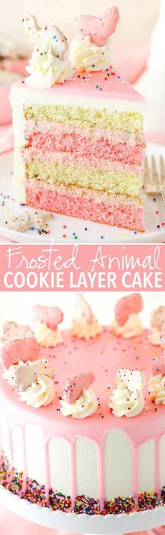 Frosted Circus Animal Cookie Layer Cake This Frosted Circus Animal Cookie Cake is made with pink and white layers of vanilla cake, filled with a crushed up frosted animal cookie filling and covered in white chocolate buttercream! Cake Recipes, Sweet Recipes, Dessert Recipes, Drink Recipes, Baking Recipes, Köstliche Desserts, Delicious Desserts, Smooth Cake, Cookies Et Biscuits