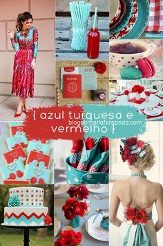 Decoração de Casamento : Paleta de Cores Azul Turquesa e Vermelho | http://blogdamariafernanda.com/decoracao-de-casamento-turquesa-e-vermelho