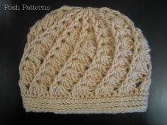 Elegant Crochet Hat Pattern | Shell Beanie | Sizes Baby to Adult