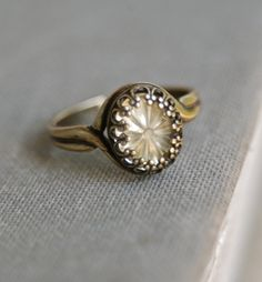 Addie. pale yellow vintage glass stone adjustable flower ring. Tiedupmemories by tiedupmemories on Etsy https://www.etsy.com/listing/202872832/addie-pale-yellow-vintage-glass-stone