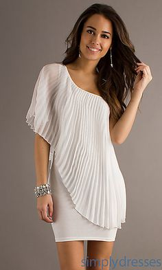 One Shoulder Little White Dress at SimplyDresses.com
