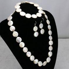 """Tanie: Kształt monety white pearl naszyjnik ustawia 11 12mm serce naszyjnik zapięcie 18 """"bransoletka 7.5"""" kolczyk 2 sztuk/partia kobiety moda biżuteria making, kup wysokiej jakości Jewelry Sets bezpośrednio od dostawców z Chin: Kształt monety white pearl naszyjnik ustawia 11-12mm serce naszyjnik zapięcie 18 """"bransoletka 7.5"""" kolczyk 2 sztuk/partia kobiety moda biżuteria making"""