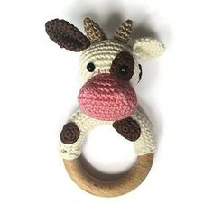 cow rattle teething ring