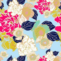Jungle Passion light blue  fabric by joanmclemore on Spoonflower - custom fabric