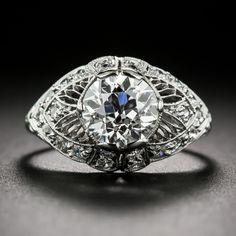 1.63 Carat GIA G SI1 Edwardian/Art Deco Platinum and Diamond Engagement Ring