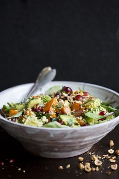 Winter Millet Salad with Grape & Pumpkin from Green Kitchen Stories.  Rainbow Delicious Meal Plan Week 8.
