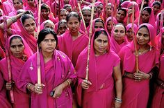 Gulabi Gang: India's 400,000+ women warriors. Founded as a response to widespread domestic abuse and other violence against women.