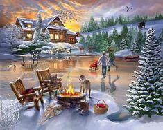 Christmas Canvas, Christmas Paintings, Christmas Art, Christmas Scenes, Christmas Images, Thomas Kinkade, Beautiful Winter Pictures, Seasonal Image, Winter Magic