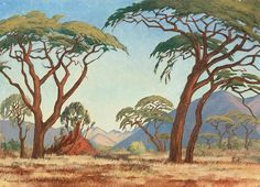 Jacobus Hendrik Pierneef is one of Africa's most renowned landscape artists. Landscape Sketch, Landscape Illustration, Fantasy Landscape, Landscape Art, Landscape Paintings, Fantasy Art, Tree Paintings, African Tree, Tree Sketches