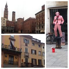 Streets of Italy are filled with culture as Roc Me Out hits the town center of Cremona for inspirations.. Apartments, bell towers, street acts all add local color.