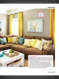 I love the curtain length and color.  Color palette similar with my couches.