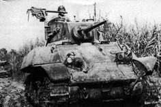 M3A3 Stuart tank was the most numerous type of tanks Provisional Tank Group.Barely visible yellow diamond insignia on the front plate of the tank identify 3rd Company, 1st Battalion.