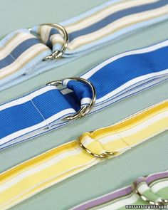 These attractive belts can be made with any grosgrain ribbon, from an ornate brocade to a sporty nautical stripe.
