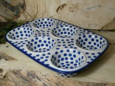 Muffin pan - Polish pottery. This pattern is so adorable!