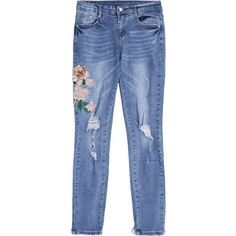 Floral Embroidered Ripped Frayed Hem Jeans ($26) ❤ liked on Polyvore featuring jeans, ripped jeans, destructed jeans, destroyed jeans, destruction jeans and distressed jeans