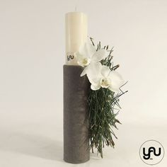 Lumanare botez orhidee si pin yau.ro yau concept elena toader Candle Sconces, Pillar Candles, Christening, Wedding Flowers, Wall Lights, Concept, Design, Appliques