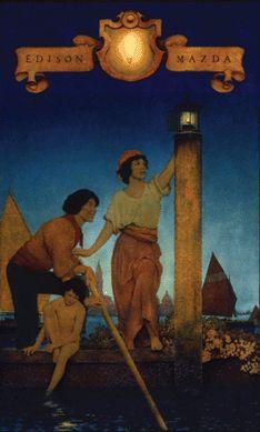 "Maxfield Parrish (1870–1966), ""Venetian Lamplighters,"" 1924,"