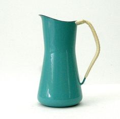 Vintage DANSK Designs Koben Style Jug Pitcher 4 Ducks Turquoise Porcelain Enamel Wrapped Handle Danish Modern In AAA Condition Denmark