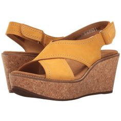 e72a42794245 Clarks Aisley Tulip (Yellow Nubuck) Women s Sandals ( 108) ❤ liked on  Polyvore