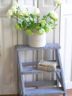 Cute . . . Old ladder, flowers, books