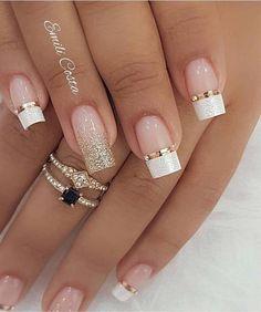 100 Beautiful wedding nail art ideas for your big day - wedding nails bride nails nail art romantic nails pink nails inspiration Simple Nail Art Designs, Winter Nail Designs, Cute Nails, Pretty Nails, Romantic Nails, Wedding Nails Design, Nail Wedding, Winter Wedding Nails, Natural Wedding Nails