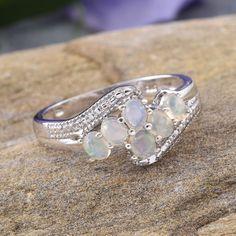 Ethiopian Welo Opal Ring in Platinum Overlay Sterling Silver (Nickel Free)