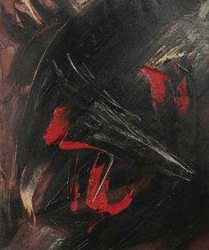 Adjugé 18 000 euros par Mercier à Lille le 21 juin 2014 -  Gérard SCHNEIDER (1896-1986) Sans titre, circa 1958 Huile sur toile signée en basà droite. Au dos référencé 43D 54 x 65 cm