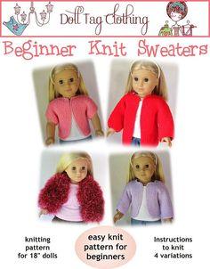 Ravelry: Beginner Knit Sweater for 18 inch Dolls pattern by Liese Brouwer (beginner knitting) Knitting Dolls Clothes, Ag Doll Clothes, Crochet Doll Clothes, Knitted Dolls, Doll Clothes Patterns, Doll Patterns, Dress Patterns, Sweater Patterns, Cardigan Pattern