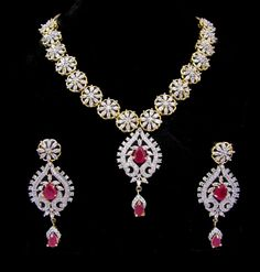 Indian CZ AD Gold & Silver Tone Bollywood Necklace Set Bridal Swam Jewelry 547 #Unbranded