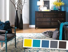 Pairing vibrant yellow with cool teal is a huge trend in home decor. Designers love blending the punchy hues with more muted chocolate brown and complementary navy for a look that's versatile, easily achieved, and totally fuss-free.