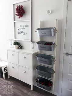 Mudroom bins and IKEA shoe cabinet with new handles …, - Schuh Schrank Ikea Shoe Storage, Ikea Shoe Cabinet, Ikea Organization, Ikea Mudroom Ideas, Storage Stairs, Shoe Cabinet Design, Hallway Shoe Storage, Organizing, Diy Cabinets