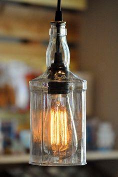 Custom Made Recycled Whiskey Jack Daniels Wine Liquor Hanging Pendant Bottle Light Lamp