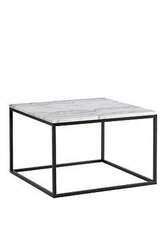 Sohvapöytä/sivupöytä, jonka pöytälevy  marmoria ja runko metallia. Koko 75x75 cm. Korkeus 48 cm.