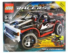 """Lego Year 2006 Special Edition Racers Series 15 Inch Long Vehicle Set # 8682 - NITRO INTIMIDATOR Truck with Detailed """"V8 Engine"""", Working Steering, Nitro Bottles, """"Stereo"""" Set-Up Plus a Big Screen and Game System (Total Pieces: 724) by LEGO. $119.90. For age 9 - 14. Trunk opens to reveal speakers and game system!. Truck measures over 15"""" (39cm) long!. Features detailed V8 engine with steering that really works!. Includes: NITRO INTIMIDATOR Truck with Detailed """"V8 Engine"""", Wor..."""