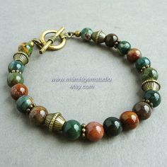 Multi Color Natural Bloodstone Mens Bracelet, Antiqued Brass, Bronze, for Guys, Dad, Him, Handcrafted Jewelry