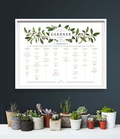 ELDERBERRY Family Tree LANDSCAPE orientation, 4 or 5 generations, for large family - Deluxe Edition - PERSONALIZED - 17 x 22 by evajuliet on Etsy