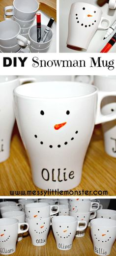 How to make a personalised DIY snowman mug. They make great gifts and are… How to make a personalised DIY snowman mug. They make great gifts and are… Homemade Christmas Gifts, Homemade Gifts, Handmade Christmas, Cheap Christmas Presents, Personalised Christmas Gifts, Simple Christmas Gifts, Crafty Christmas Gifts, Christmas Fayre Ideas, Xmas Ideas