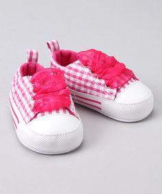 Hot Pink Gingham Sneaker from Gerber on #zulily!