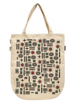 Vietsbay's Women Vintage Mexican Symbols Printed Canvas Tote Bag WAS_39
