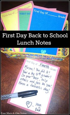 First Day Back to School Lunch Notes {Free Printable} Four Marrs & One Venus